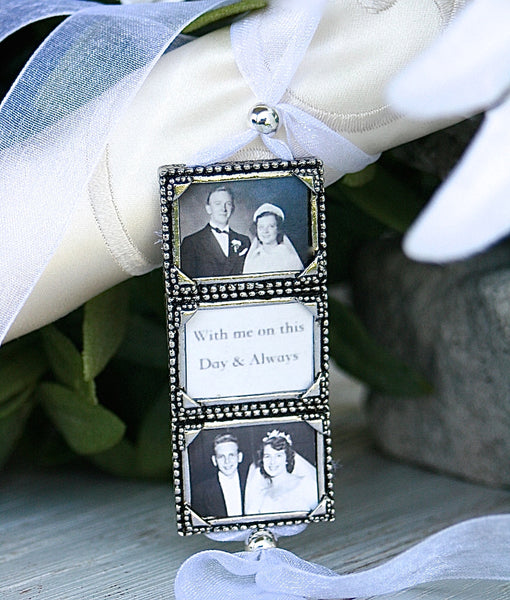 Wedding Bouquet Charm Pewter 3 Frame