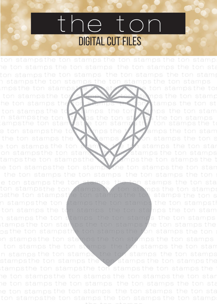 Diamonds (Heart) - Solid + Outline SVG Cut File Set