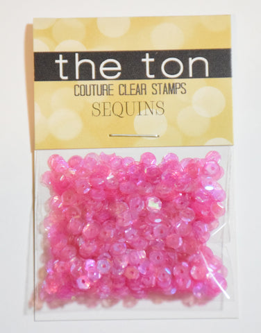 Dark Pink Sparkling Clear Sequins - 4mm