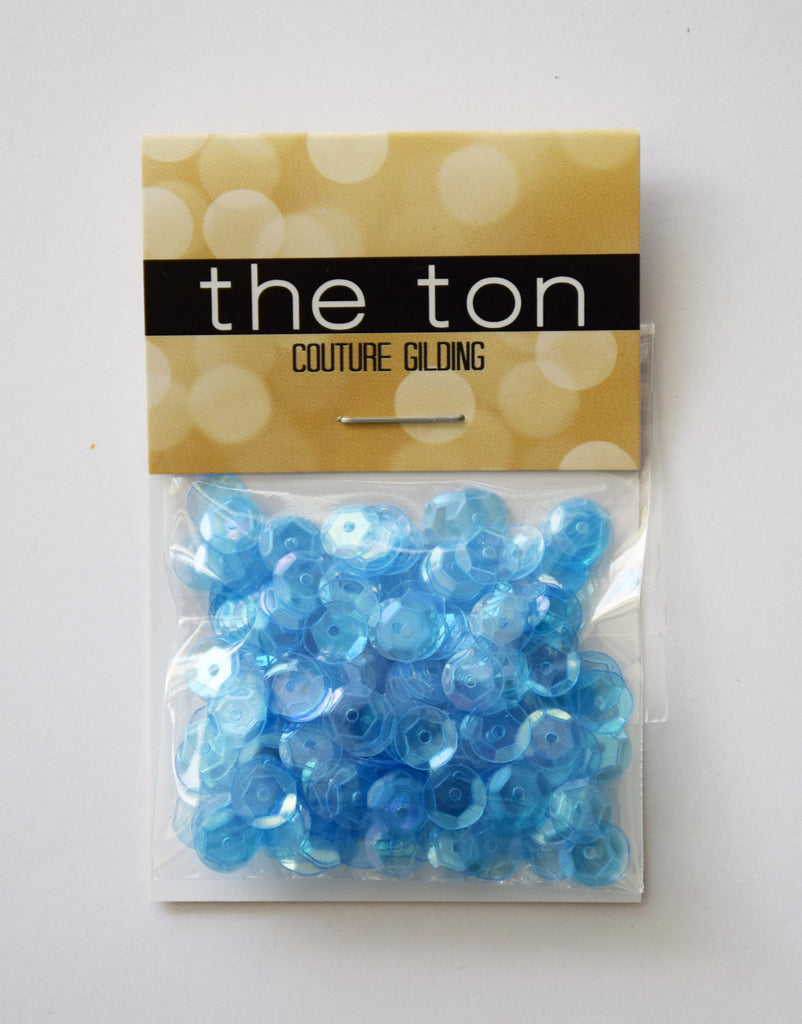 Light Blue Topaz Sparkling Clear Sequins - 8, 6, 5, 4mm, Mixed