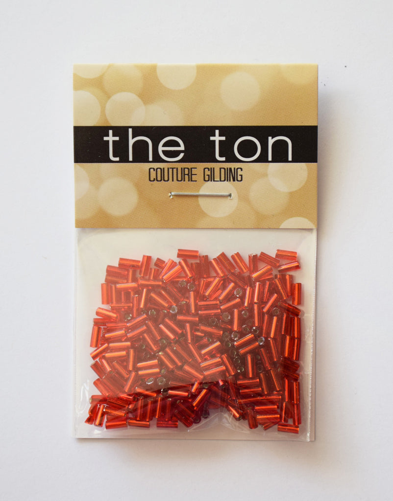 Bright Garnet Long Bugle Beads