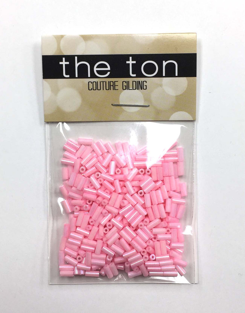 Bubblegum Long Bugle Beads