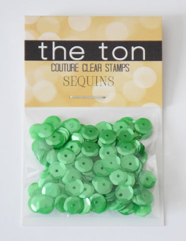 Carrie's Green Sequins - 8, 6, 5, 4mm, Mixed