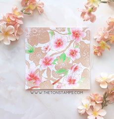 Cherry Blossom Garden Cling Background