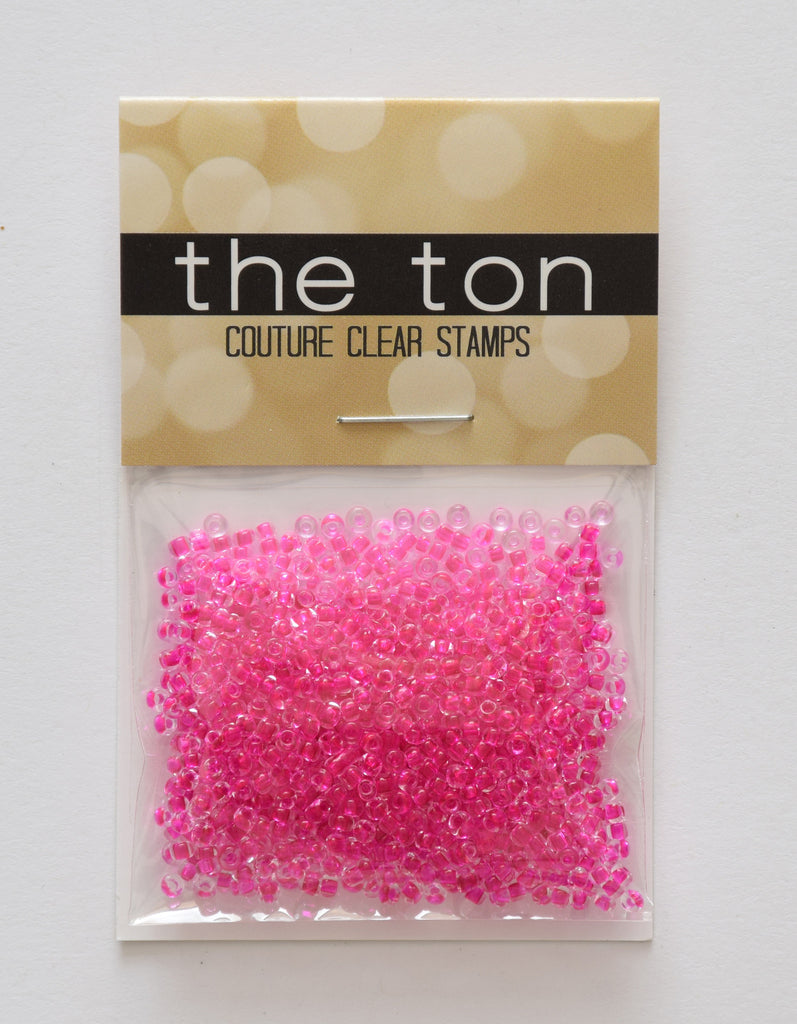 Clear Fuschia Seed Beads