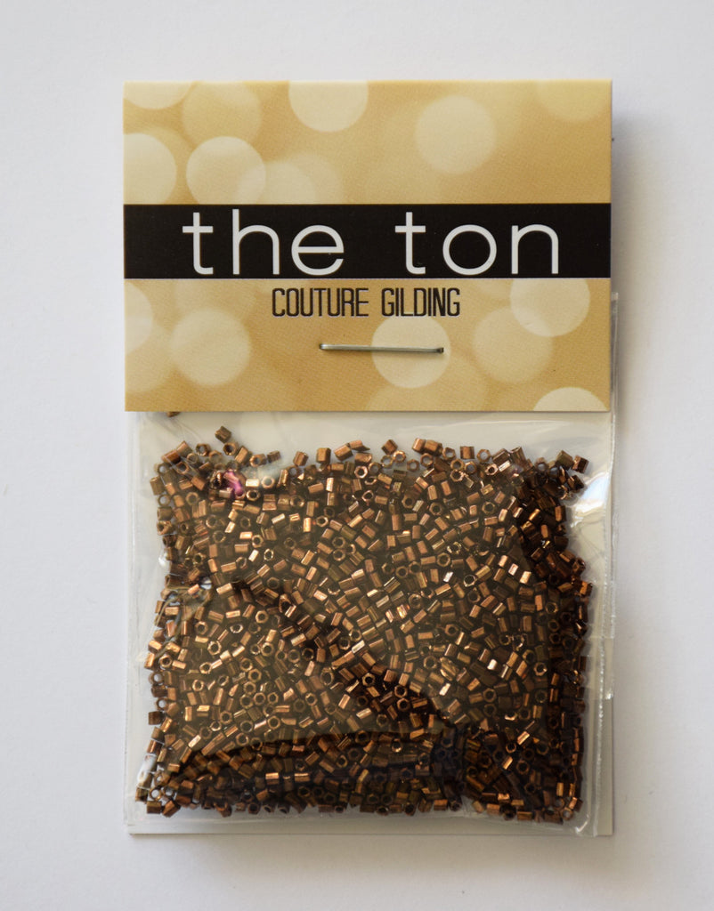 Coffee Gold Mini Bugle Beads