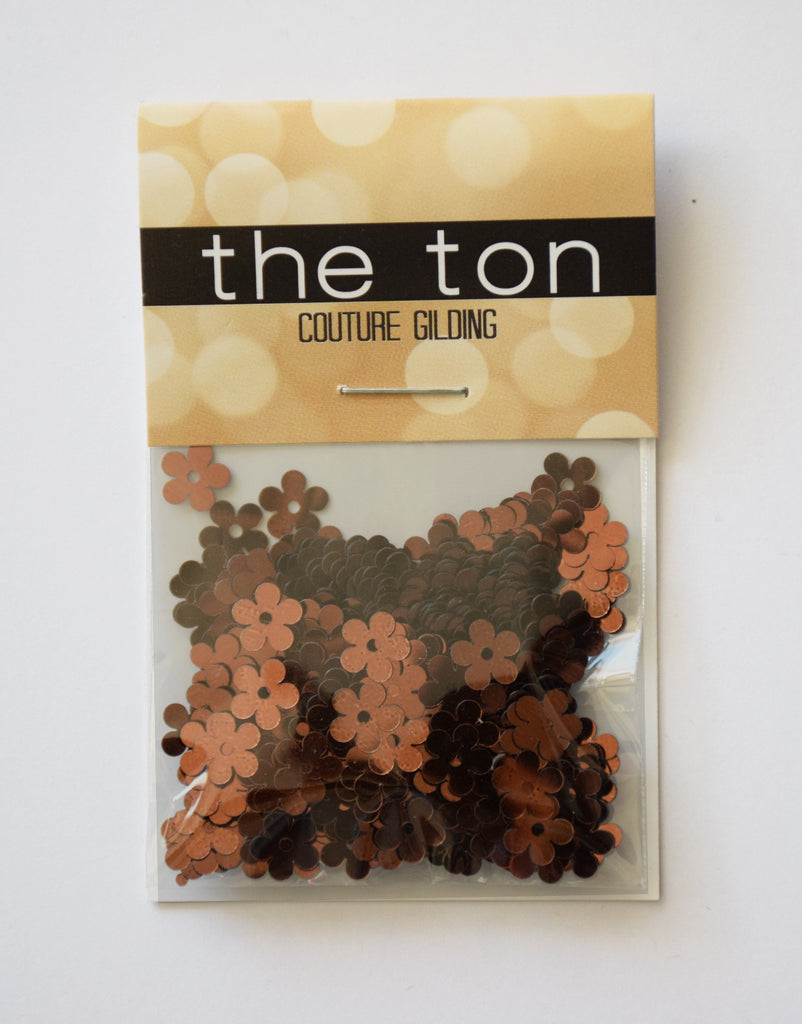 Dark Copper Flora Sequins