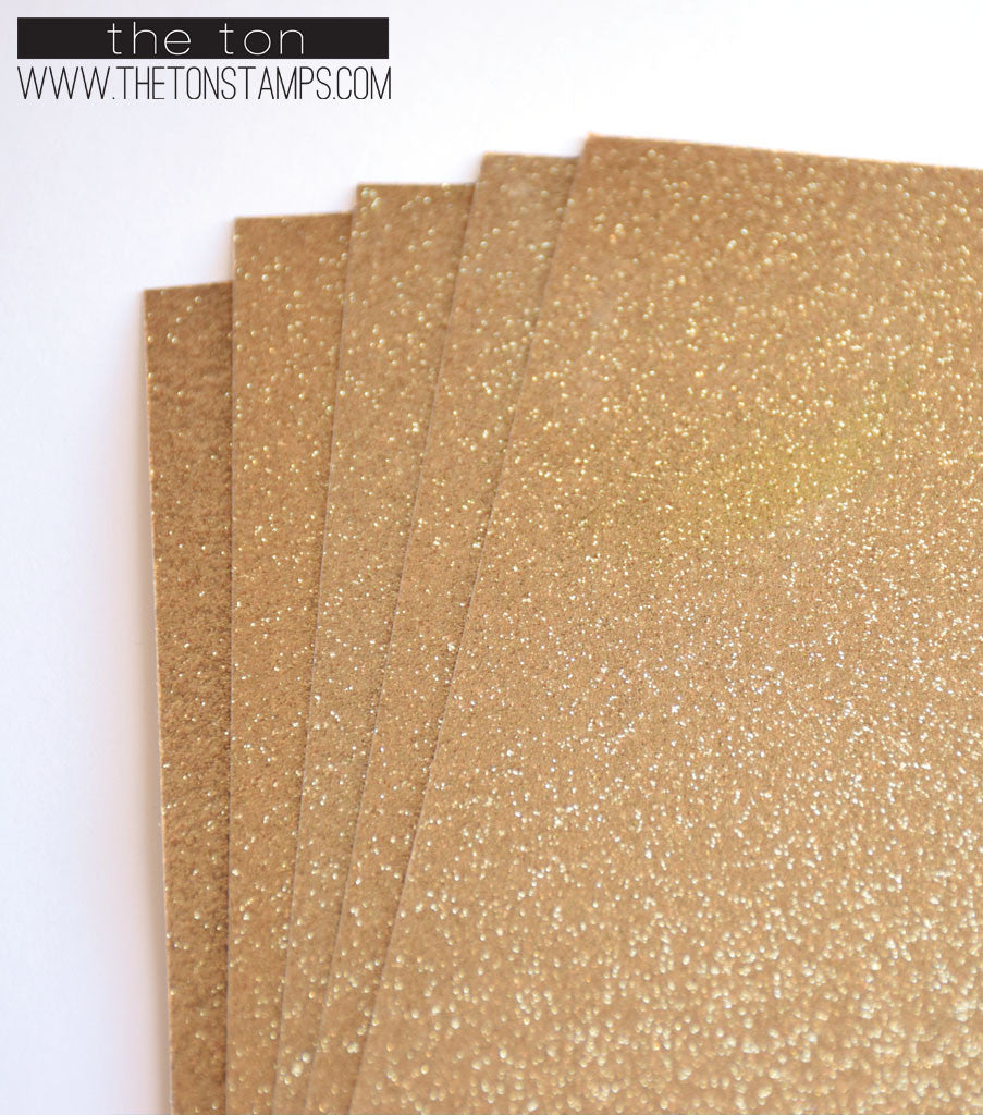 Adhesive Glitter Paper - Glossy Fine Gold (2 sizes available)