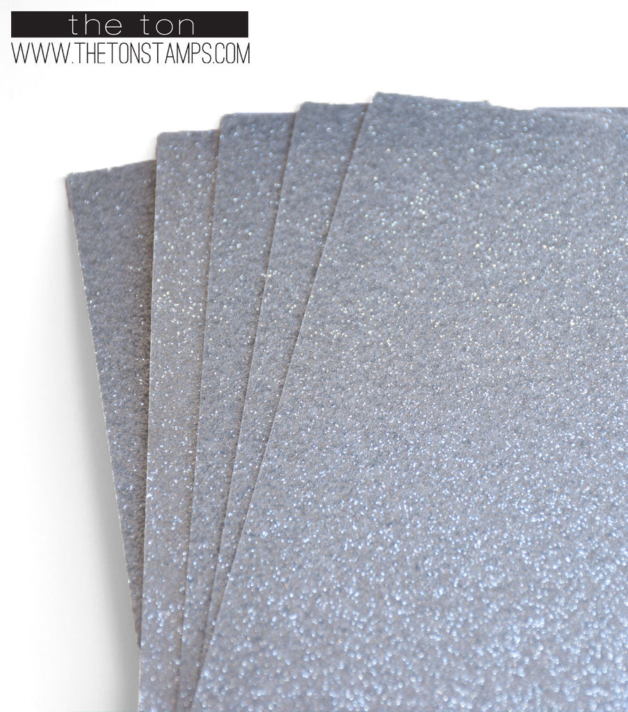 Adhesive Glitter Paper - Glossy Fine Silver (2 sizes available)