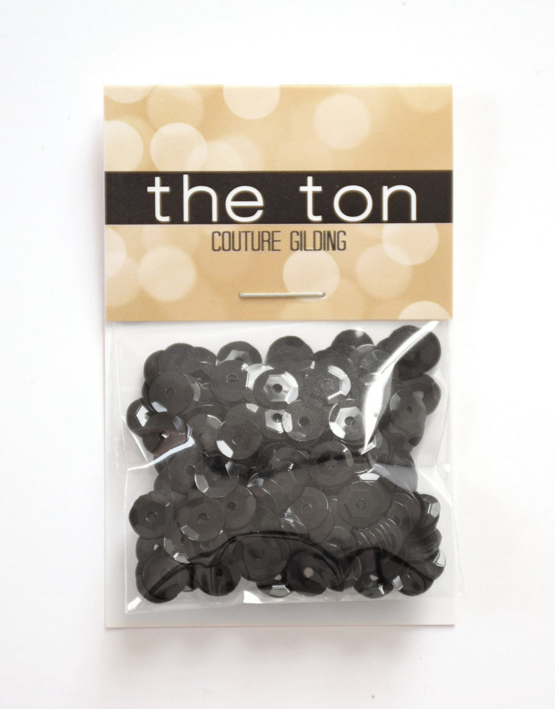 Glossy Black Sequins - 10, 8, 6, 4mm, Mixed