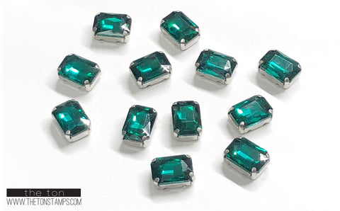 Glass Gems - Green Rectangle 1/2in x 3/8in