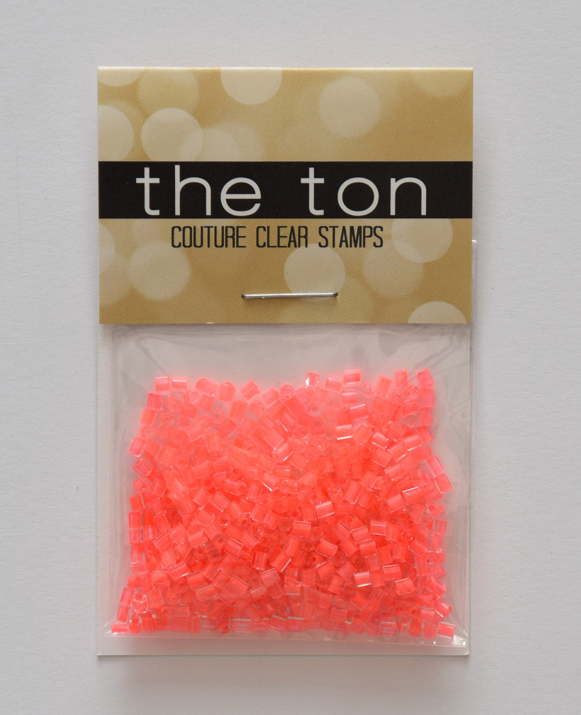 Hot Coral Bugle Beads