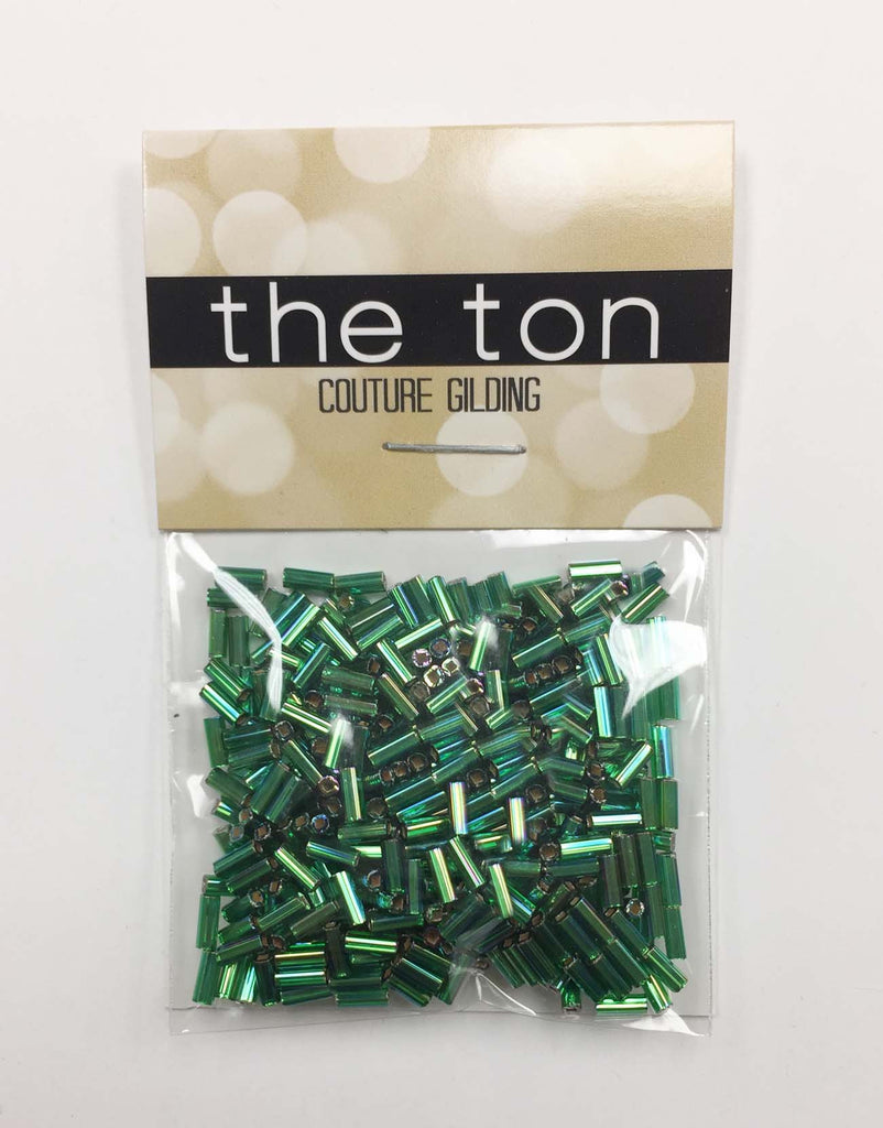 Iridescent Metallic Pine Long Bugle Beads