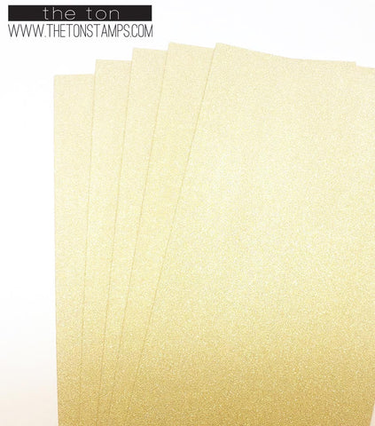Adhesive Foil Paper - Light Gold Glitter Foil (3.9in x 9in)