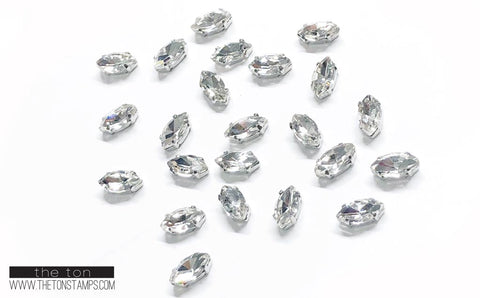 Glass Gems - Clear Marquis 1cm (Small)