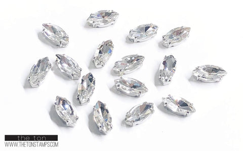 Glass Gems - Clear Marquis 9/16in x 1/2in (Lg)
