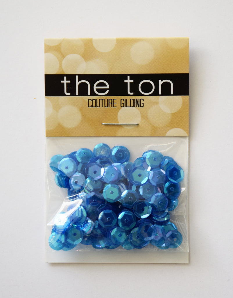 Mercedes Blue Sparkling Clear Sequins - 8, 6, 5, 4mm, Mixed