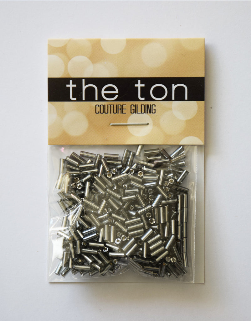 Metalline Pewter Long Bugle Beads