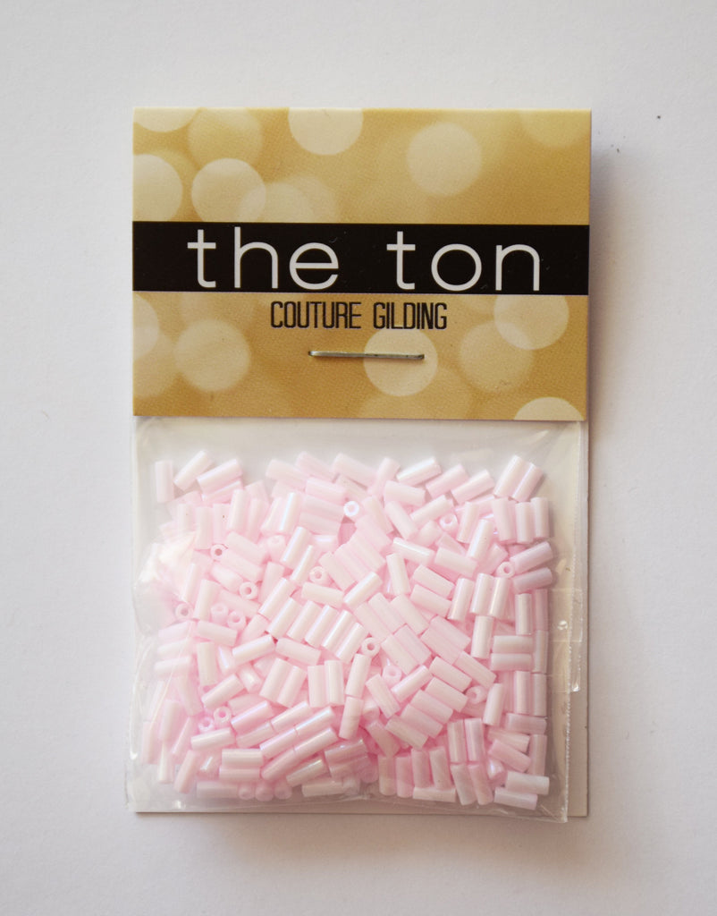Powder Pink Long Bugle Beads