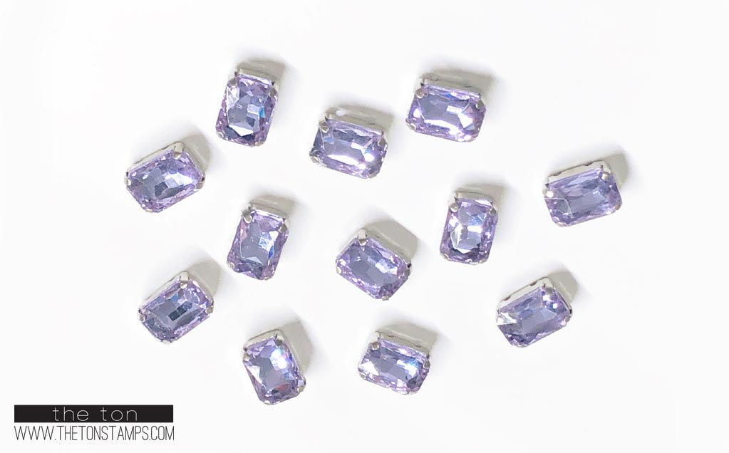 Glass Gems - Purple Rectangle 1/2in x 3/8in