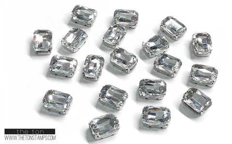 Glass Gems - Clear Rectangle 1/2in