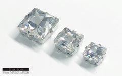 Glass Gems - Clear Square 7mm