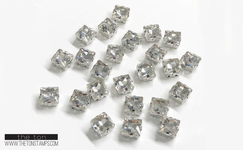 Glass Gems - Clear Square 10mm