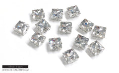 Glass Gems - Clear Square 1/2in