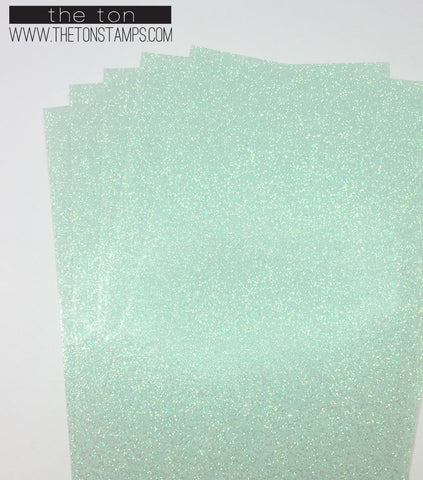 Adhesive Glitter Paper - Glossy Fine Mint Transparent (3.9in x 9in)