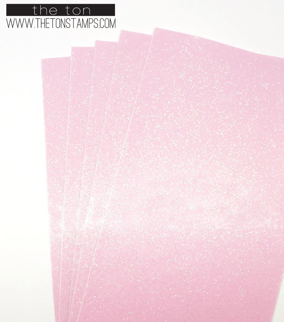 Adhesive Glitter Paper - Glossy Fine Pink Transparent (3.9in x 9in)