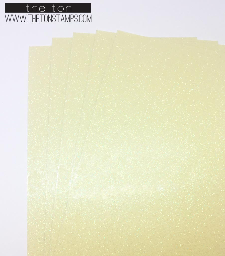 Adhesive Glitter Paper - Glossy Fine Yellow Transparent (3.9in x 9in)