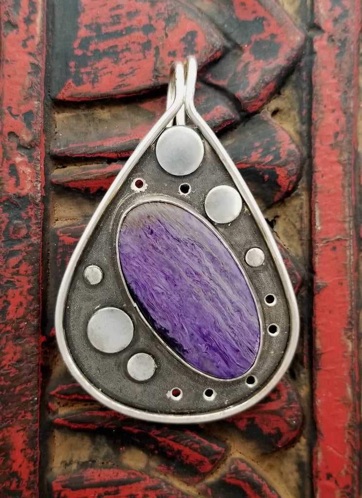 Charoite Sterling Circle Teardrop Pendant
