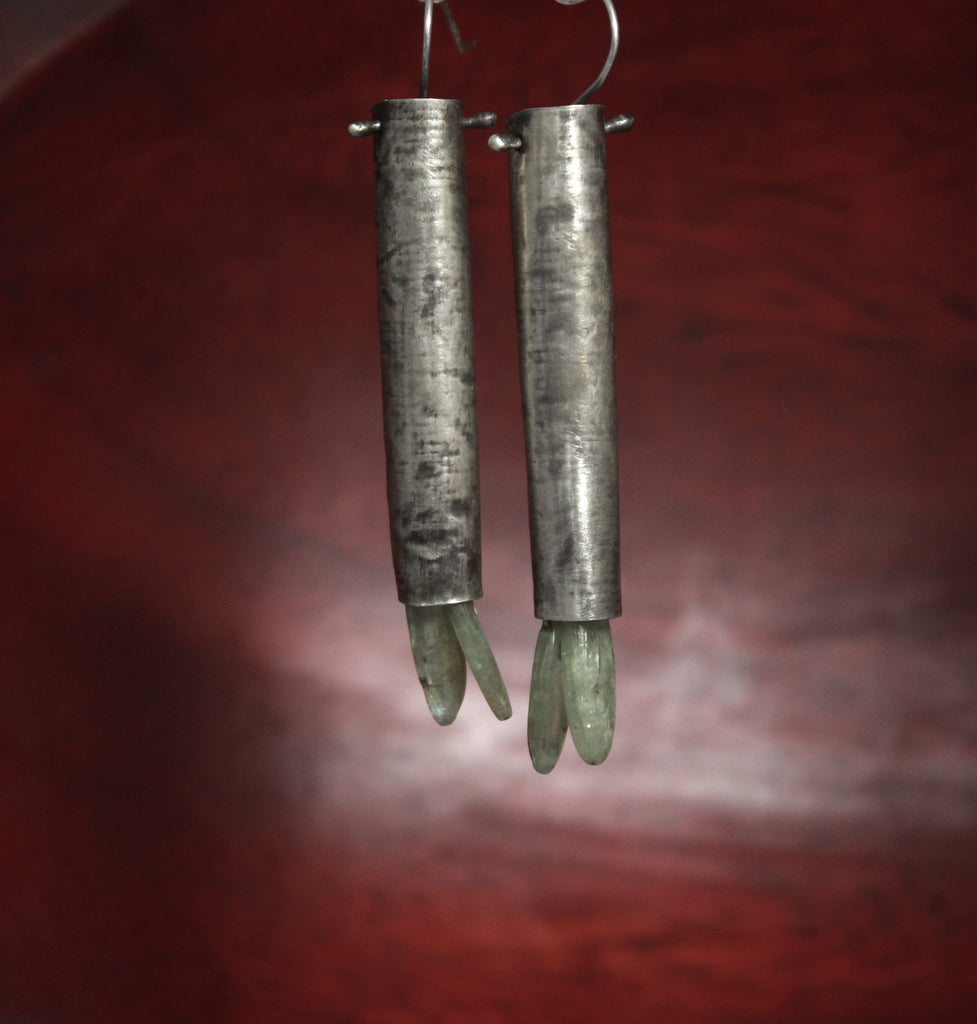 Sterling Kyanite Birch Bark Earrings