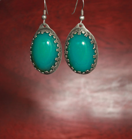 Deep Green Chalcedony Sterling Drop Earrings