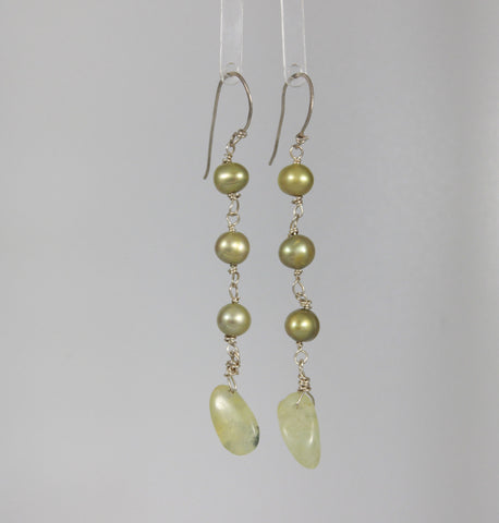 Green Pearl and Prehnite Sterling Dangle Earrings