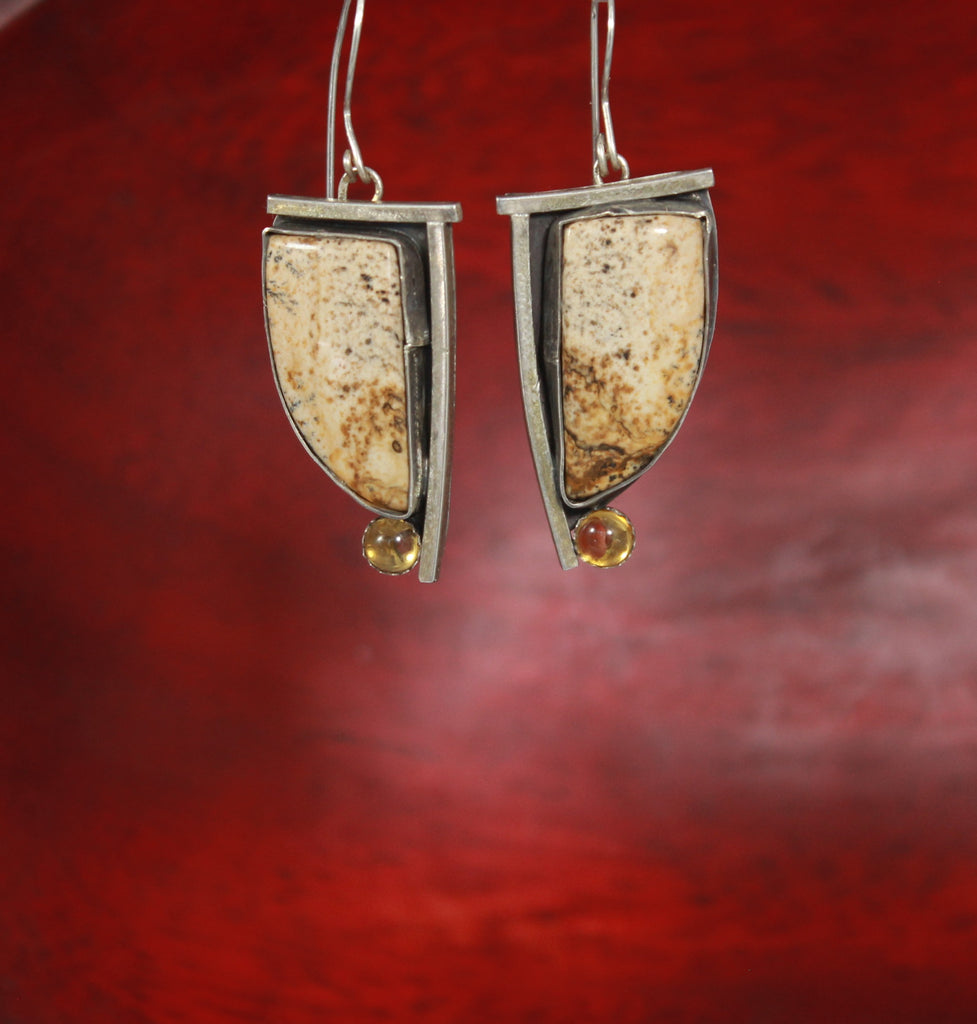 Jasper and Citrine Sterling Right Angle Earrings
