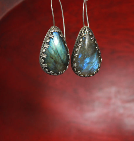 Luscious Labradorite Sterling Drop Earrings