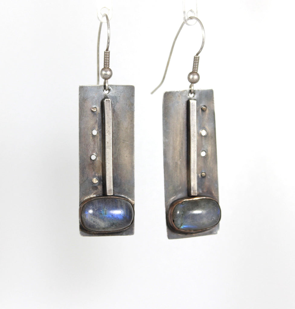 Industrial Line Sterling Labradorite Earrings