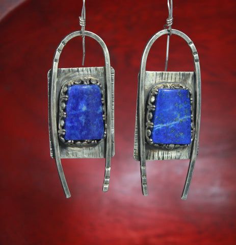 U-Turn Sterling Lapis Earrings