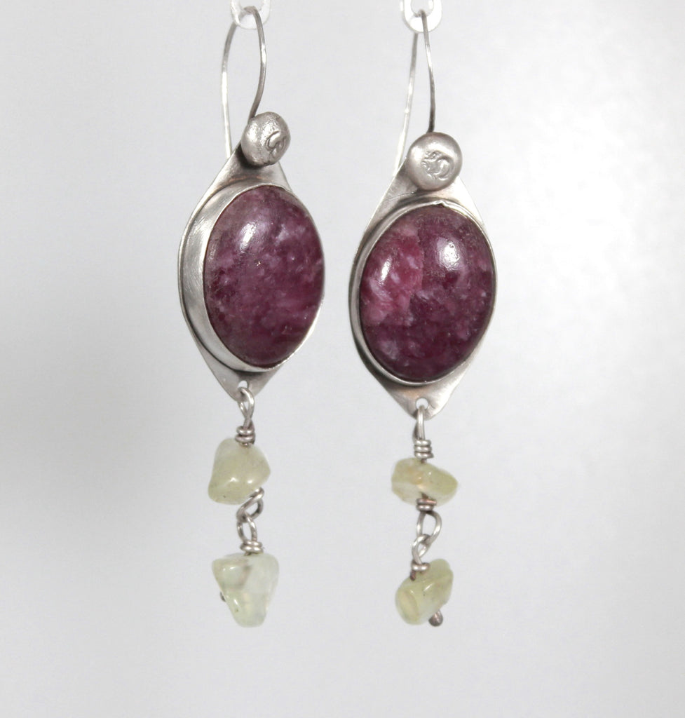 Lepidolite Prehnite Sterling Dangle Earrings