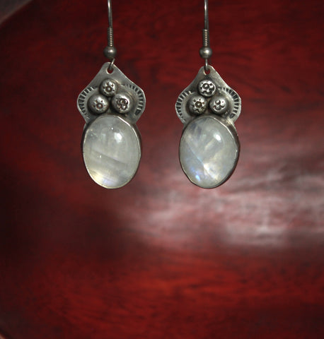 Moonstone Acorn Sterling Earrings