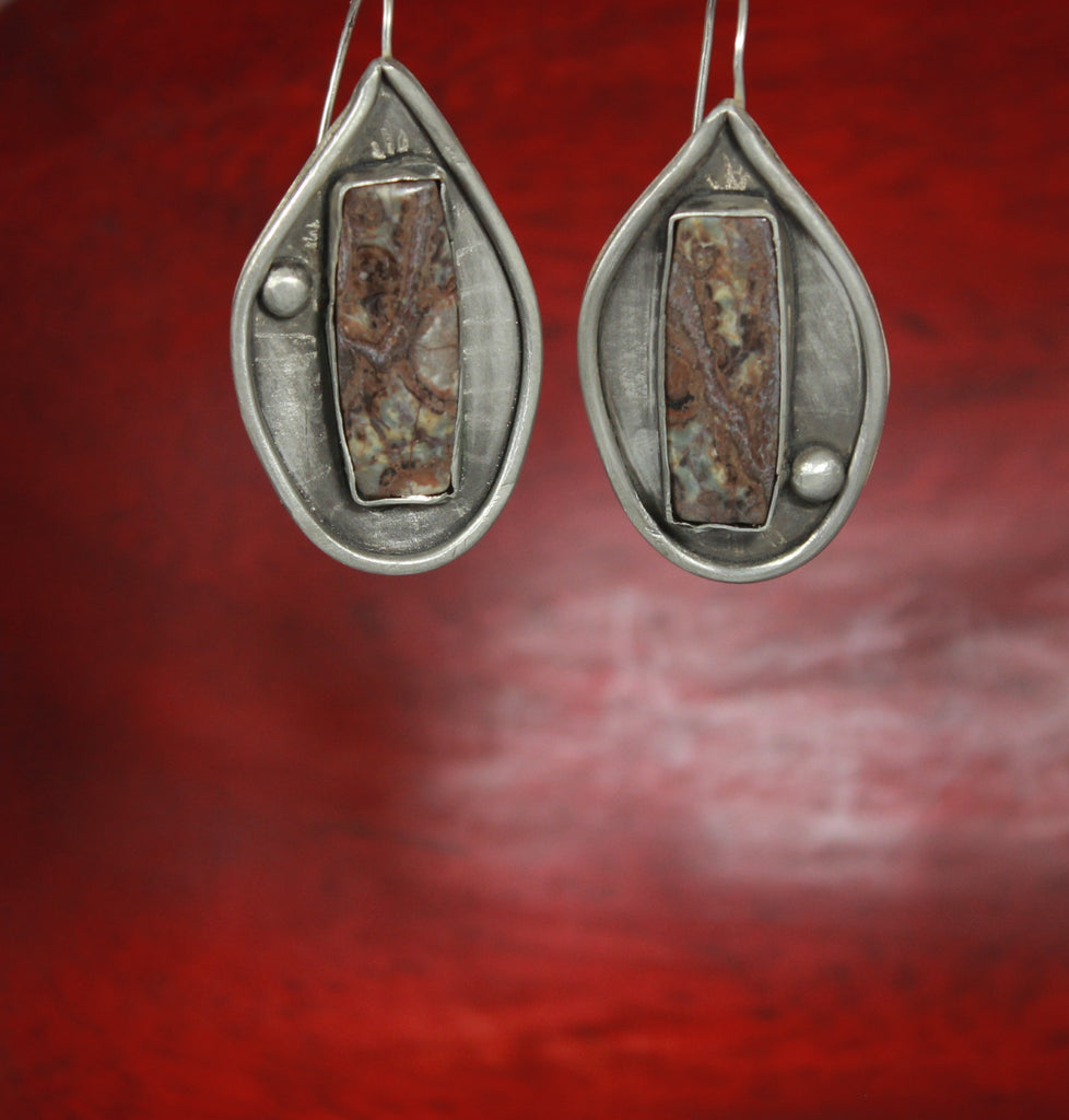 Sterling Rhyolite Shield Earrings