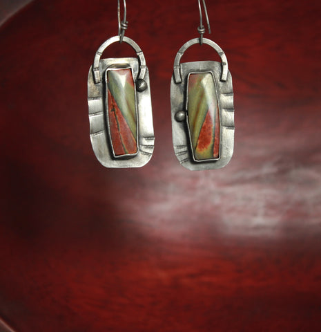 River Jasper Horseshoe Sterling Earrings