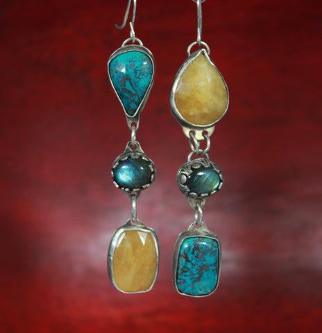 Turquoise Labradorite and Sapphire Sterling Earrings