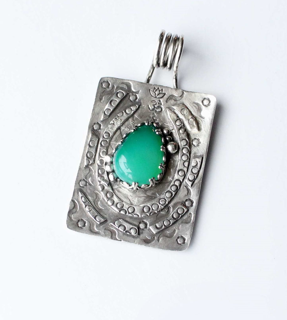 Green Agate Sterling Doodle Pendant