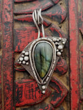 Labradorite Sterling Triangle Ball Pendant