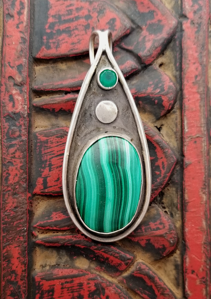 Malachite Green Agate Sterling Teardrop Pendant