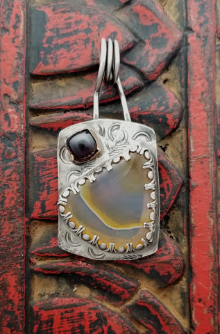 Montana Agate, Garnet, Sterling and Copper Dog Tag Pendant