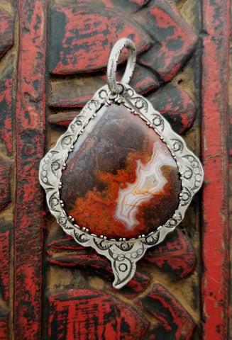 Red Lace Agate Sterling Stamped Pendant