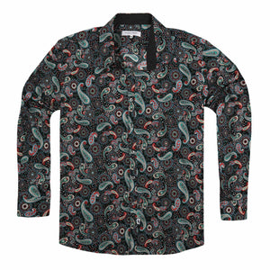 Jimmy Stuart Fireworks Paisley Shirt in Black - Ron Bennett Big Men's Clothing - 1